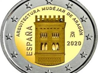 Torre mudéjar de El Salvador de Teruel en una moneda de 2 euros
