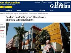 Imagen del artículo de The Guardian sobre los pisos con contenedores de Barcelona