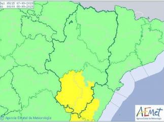 Aviso amarillo por lluvias y tormentas en varias zonas de Teruel.