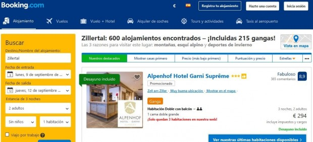 Oferta de hoteles en Zillertal