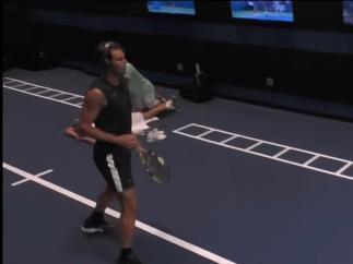 El calentamiento de Rafa Nadal en el US Open