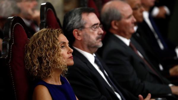 La presidenta del Congreso de los Diputados, Meritxell Batet, junto al presiente del Senado, Manuel Cruz.
