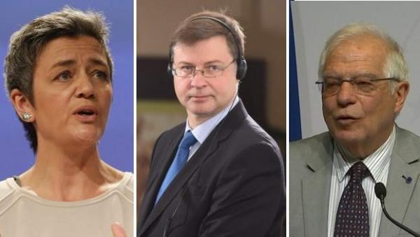 Vestager, Dombrovskis y Borrell, en una imagen de archivo.