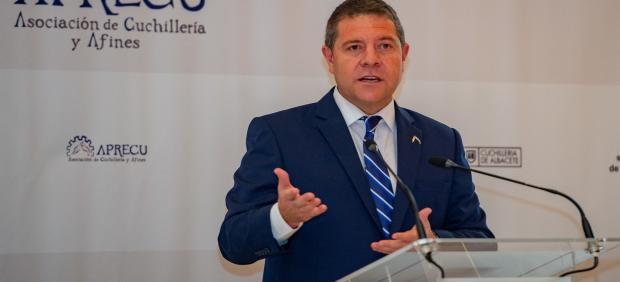 El presidente de C-LM, Emiliano García-Page, durante la comida organizada por Aprecu