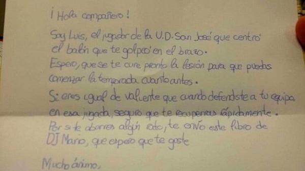 Carta de un niño futbolista
