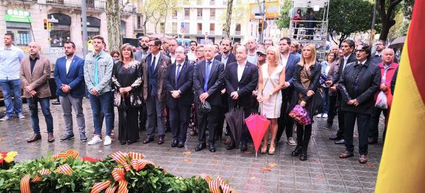 Ofrenda del PSC en la Diada: Núria Marín, Miquel Iceta, José Montilla, Núria Parlon, Josep Maria Sala, David Pérez.