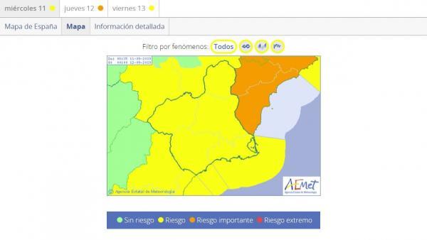 Mapa aviso amarillo en toda la Región por viento, fenóemnos costeros y lluvia