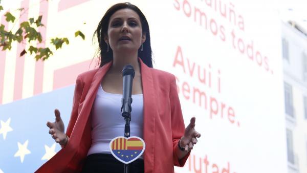 La portavoz de Cs, Lorena Roldán, durante la Diada