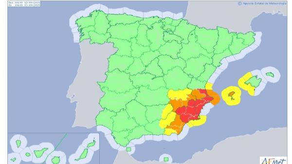 Protección civil mantiene la alerta en Comunidad Valenciana y Murcia