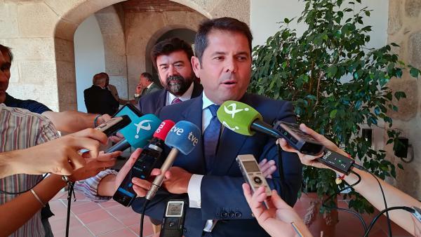 El presidente de Cepyme, Gerardo Cuevas, en declaraciones a los medios tras reunirse con el presidente de la Junta de Extremadura