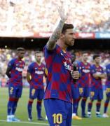 Leo Messi en la presentación del FC Barcelona