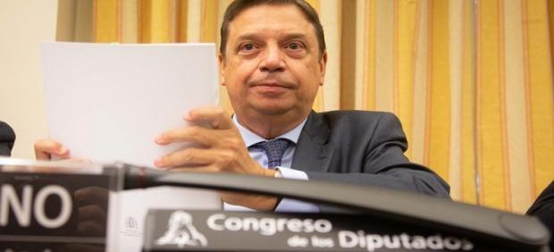 El ministro de Agricultura, Pesca y Alimentación, Luis Planas, antes de comparecer en el Congreso