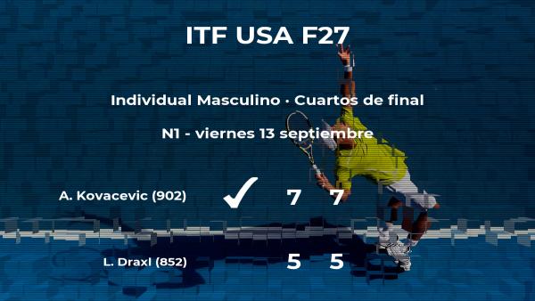 El tenista Aleksandar Kovacevic consigue el puesto de las semifinales a expensas de Liam Draxl