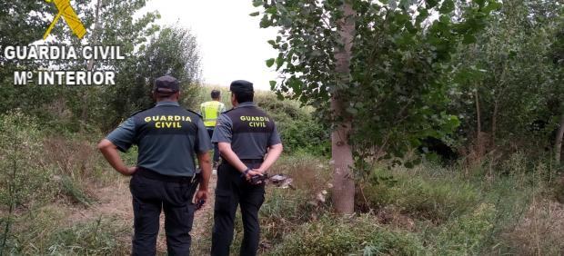 Integrantes del dispositivo de búsqueda del anciano en Soto de la Virgen (León)