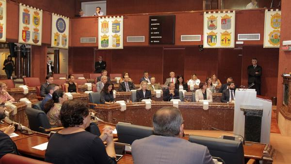Pleno extraordinario de la Asamblea Regional en el que los grupos parlamentarios solicitan al Gobierno de España la declaración de zona catastrófica