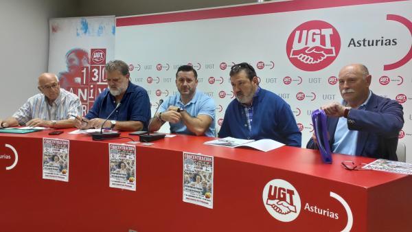Rueda de prensa en UGT para anunciar movilizaciones en defensa de las pensiones.