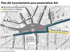 Plan del Ayuntamiento para peatonalizar Sol