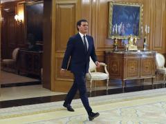 El presidente de Ciudadanos, Albert Rivera, a su llegada al Palacio de la Zarzuela