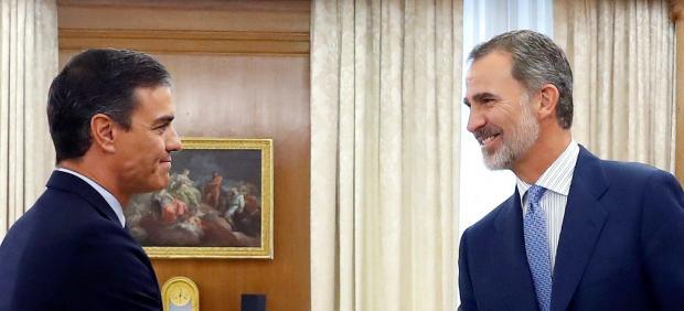 Pedro Sánchez en la ronda de consultas de Felipe VI