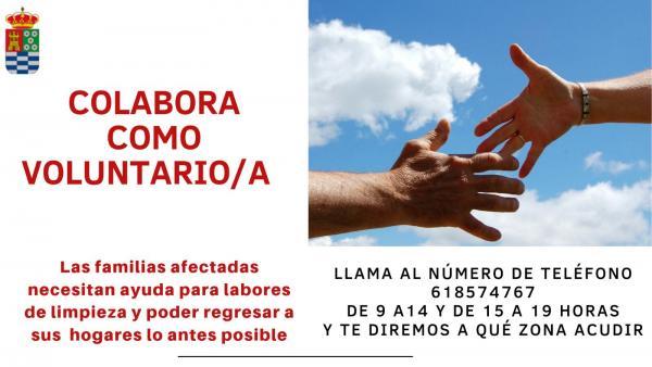 Petición de voluntarios para limpiar en Molina tras el paso de la DANA