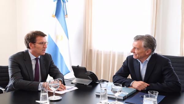 Reunión entre Alberto Núñez Feijóo y el presidente de Argentina, Mauricio Macri