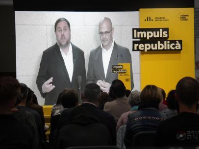 Oriol Junqueras y Raül Romeva en un acto electoral durante las pasadas elecciones.