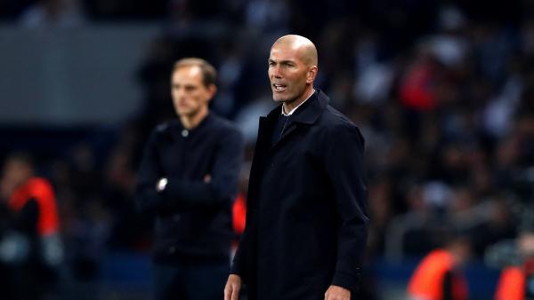 Zinedine Zidane, en la derrota del Real Madrid contra el PSG