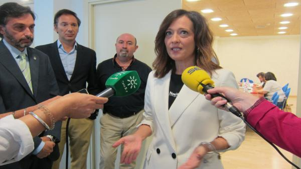 La delegada del Gobierno andaluz en Jaén, Maribel Lozano, atiende a los periodistas.