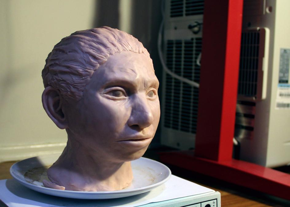 Retrato del pasado. Una reconstrucción impresa en 3D de cómo podría haber sido una cabeza femenina de los antiguos denisovanos, un linaje humano con el que convivieron los humanos modernos y los neandertales.