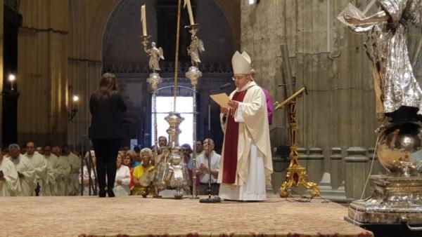 El arzobispo de la Archidiócesis hispalense, Juan José Asenjo, este sábado