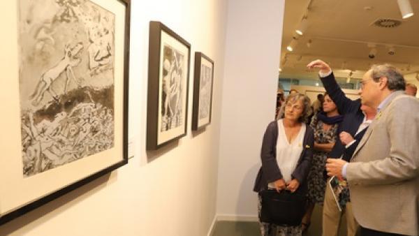 El presidente de la Generalitat, Quim Torra, en la inauguración de la exposición 'Llavors'