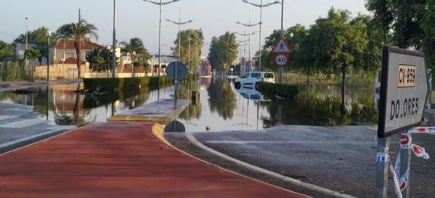 Calles inundadas en Dolores (Alicante)