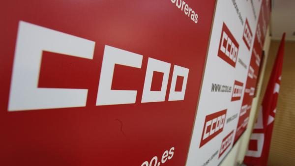 Logo CCOO, Comisiones Obreras, cartel CCOO