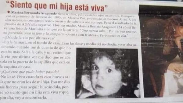 Recorte de un periódico dos años después de su desaparición