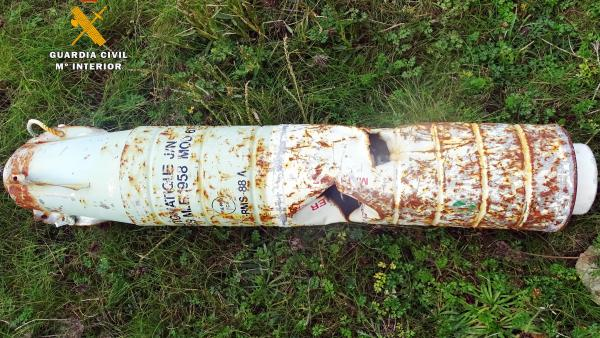 Proyectil destruido por la Guardia Civil