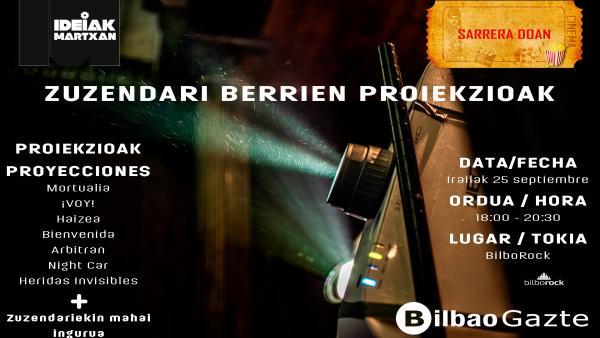 Cartel del ciclo de cortos de jóvenes autores en Bilbao