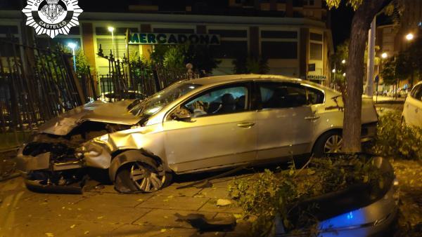 Vehiculo que ha sufrido el accidente