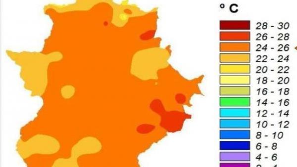 Media de temperaturas en Extremadura