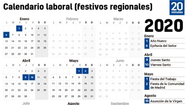 2020 Calendario Laboral.Calendario Laboral 2020 En Madrid Dos Festivos Pasan A