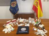 Productos incautados por la Policía Nacional en la operación antidopaje.