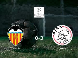 El Ajax se lleva los tres puntos a casa tras golear al Valencia (0-3)