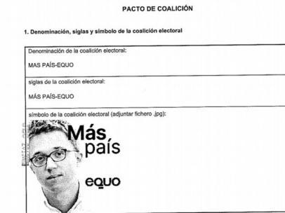 La cara de Errejón será el logo de la coalición Más País y Equo.