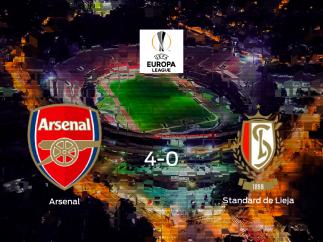 El Arsenalse hace con los tres puntos tras golear al Standard de Lieja en casa (4-0)