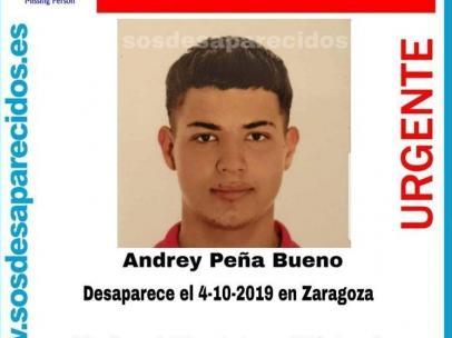Andrey Peña Bueno, el joven desaparecido en Zaragoza.