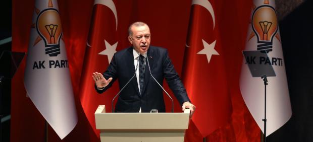 El presidente de Turquía, Recep Tayyip Erdogan, en un discurso ante miembros de su partido, el AKP