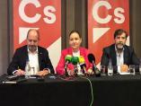 Los candidatos de Cs-Jaén Antonio Barrios, Marián Adán y Bruno García.