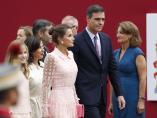 Pedro Sánchez, la princesa Leonor, y la reina Letizia