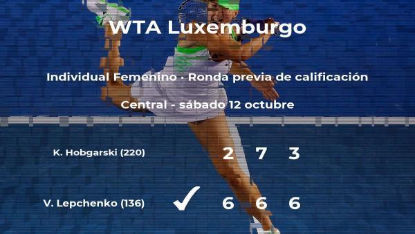 La tenista Varvara Lepchenko consigue vencer en la ronda previa de calificación contra la tenista Katharina Hobgarski