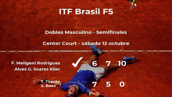 Los tenistas Meligeni Rodrigues Alves y Soares Klier se hacen con la plaza de la final a costa de Tirante y Baez