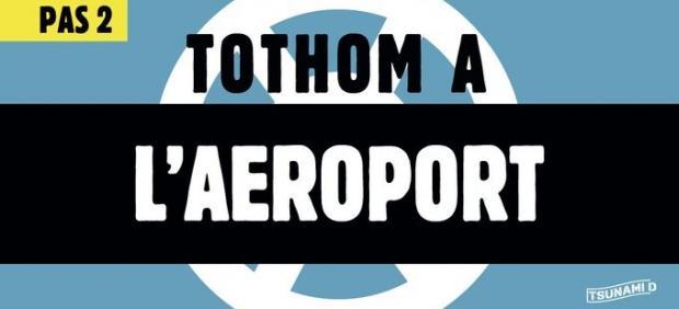 Mensajes de Tsunamic Democratic animando a cortar el Aeropuerto de El Prat.